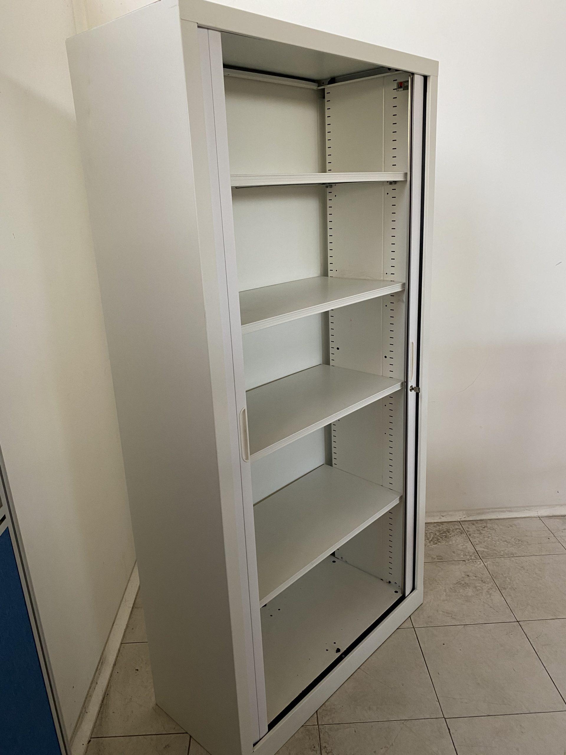 armoire haute à rideaux blanche p40 l100 h198  buroccasion